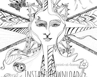 DIGITAL DOWNLOAD adult coloring book, printable women gift, art nouveau coloring, hard coloring pages, grown up coloring, nature coloring