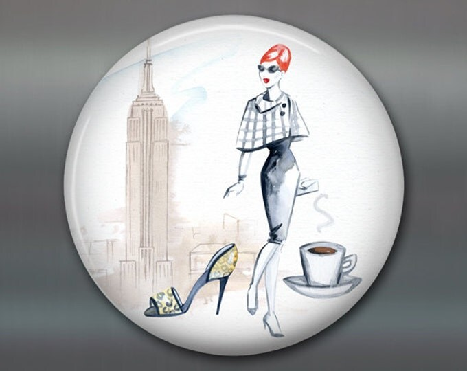 "3.5"" fashion art magnet, new york, broadway decor womens fashion magnet kitchen decor, house warming gift, big magnet for fridge MA-FASH-7"