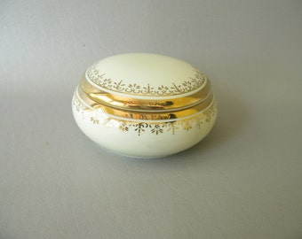 Vintage Ceramic Trinket Box, Gold, Made in Japan, Round