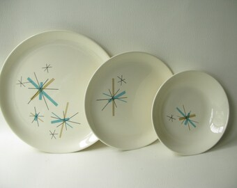 Vintage Atomic Dinnerware, Hopscotch, Plates, Midcentury Dishes, Place Setting, Salem Hopscotch
