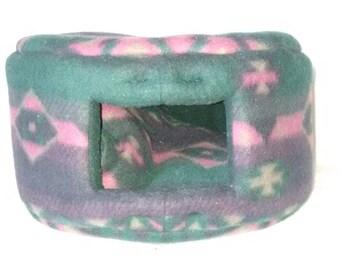 Small Custom Cozy Pet Bed - Green, Purple, Pink Geometric