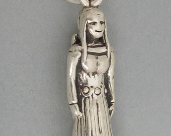 Sterling Silver Charm Native American INDIAN MAIDEN with PAPOOSE sc044