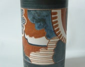 "Abstract 70's Studio Art Pottery Vase Carved Thrown Abstract POP OP Art Signed 8"" Graphic Vintage"
