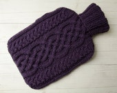 Knitted Aran Cable Hot water bottle Cover in Purple Celtic Cable Design