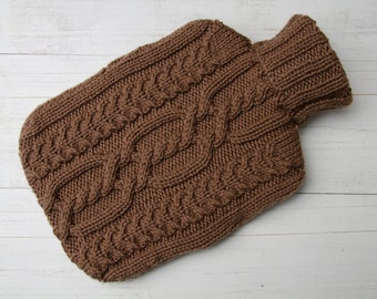 Hot water bottle cover knitted Brown Cable Aran pattern Pure wool