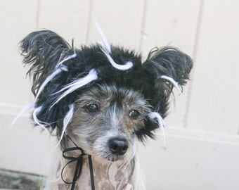 Black and White Faux Fur Dog Costume Wig Hat Medium Size