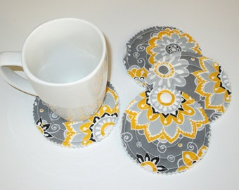 Quilted Coasters – Set of 4 Fabric Coasters - Coffee Tea Mug Rug – Grey Gold Black and White Floral
