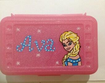 Personalized Disney Elsa Frozen pencil case, art, crayon box- kids party favor -birthdays,communions
