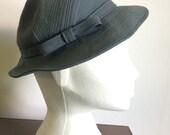 Vintage 1940s grey blue Betty Henderson Toronto day hat - small/medium