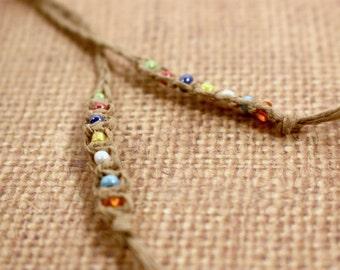 Macrame hemp beaded bookmark with colorful seed beads braided