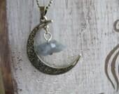 75% off enter LOVE2016,  Druzy Like Moonstar Necklace, Moon Necklace, Moon, Half Moon Quartz Necklace, Quarts Necklace, Moonstar Quartz