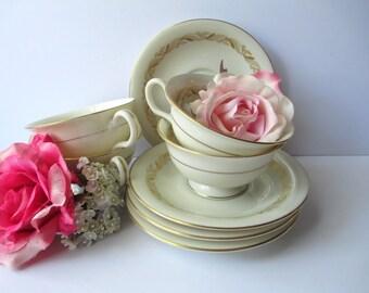 Vintage Carlton by Castleton Cream Gold Teacups & Saucers Set of Four