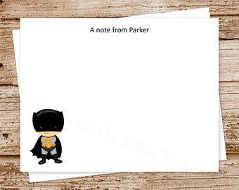 superhero note cards . flat notecards . personalized stationery stationary . super hero choices . set of 10