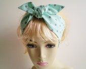 Mint Dot Head Scarf, Mint Green and Gray Dots Head Scarf, Minty Head Scarf, Mint Polka Dot Head Scarf