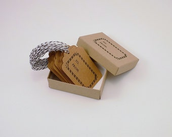To & From Kraft Card Stock Tags in Black Set of 20 Boxed with Bakers Twine Holiday Gift Tags Christmas Gift Tag