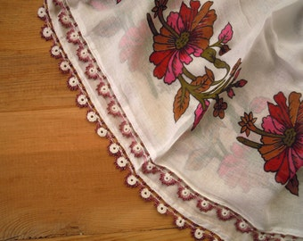 white cotton scarf, beaded edge, pink red flower