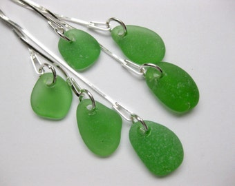 Sea Glass Earrings Long Seaglass jewelry beach glass SS  earrings Beach Glass Jewelry, Handmade Custom Jewelry