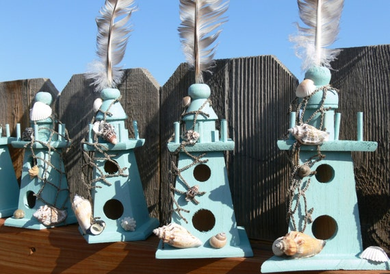 Wooden Lighthouse, Birdhouses, in your choice of color or theme for Wedding table numbers or Special occasion