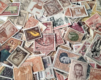 Neutral Shades Vintage Postage Stamps, Used Off Paper Worldwide Stamps, 50 Piece Lot of Brown & Beige Used Stamps,