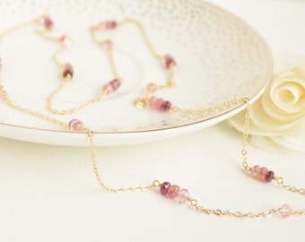 Pink Tourmaline Long Chain Necklace