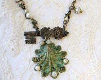 Sea Treasures Necklace - Vintage French Key Necklace - Key Necklace - Shell Necklace