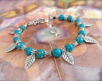 Leaves Anklet Turquoise Mosaic ANKLE Bracelet LEAF anklet beaded ANKLET Cowgirl Boho jewelry bare feet Wedding foot jewelry Fish Charm