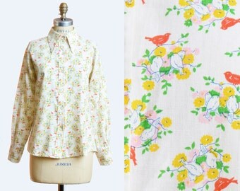 Vintage 60s Floral Bird Print Blouse / 1960s Button Down Shirt, s m