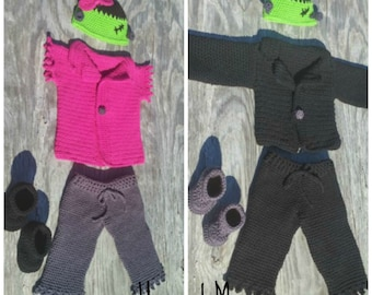 Warm Costume - Custom Costume - Halloween Outfit - Baby Costume - Toddler Halloween - 1st Halloween - Frankenstein Outfit Crochet Boy/ Girl