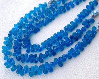 Brand New, 1/2 Strand, Rare Natural NEON BLUE Apatite Faceted Drops Shaped Briolettes, Amazing Quality of Rare Color Apatite, 7-7.5mm Size.
