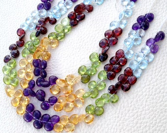 Brand New, Full 8 Inch Strand, Multi Natural Stones Faceted Heart Shape Briolettes, 6-7mm Aprx.Super,Very Fine Quality.