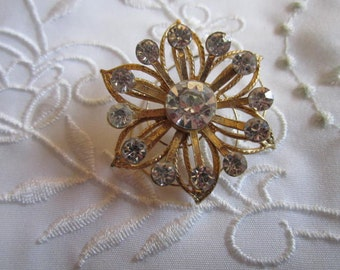 Vintage Flower-Shaped Clear Faceted Rhinestone Hair Accent