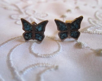Vintage Sterling Silver and Turquoise Butterfly Pierced Earrings