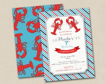 Lobster Boil Custom Birthday Party Invitation Design or any occasion- optional backside design