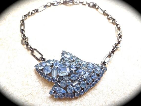Something Blue Handmade Rhinestone brooch Necklace UniqueBridal Wedding Jewelry