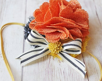 Welcome Back, Fall ~ mustard pumpkin black polka dot and striped headband M2M Little Boats