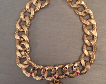 Lovely Antique Gold Bracelet with Rubies, Sapphires and a Sweet Heart