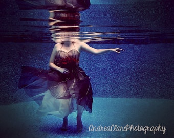 Underwater Photography, Surreal Photoraph, Portrait, Art, Print, Photo, female figure, Dress, Vintage, Woman, Blue, Flowers, Fairy Tale