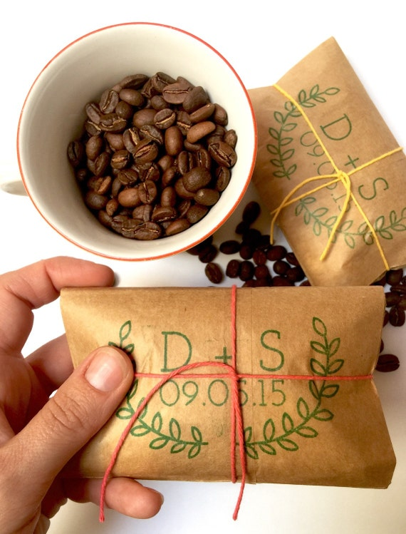 100 Custom Wedding Favors. Freshly Roasted Coffee Favors Wrapped and Tied with Twine. Hand-Stamped. Made to Order. Unique to you.