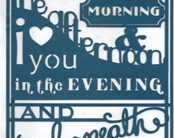 I love you in the morning and under the moon word silhouette