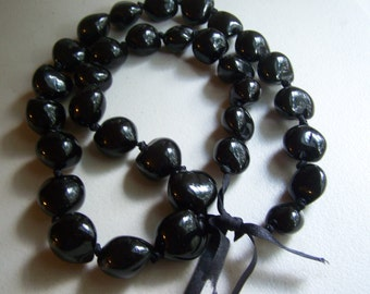 Black Long Hawaiian Kukui Nut Lei Beads Tied Necklace