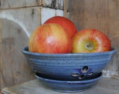 Pansy Purple Stoneware Berry Fruit Bowl with Saucer