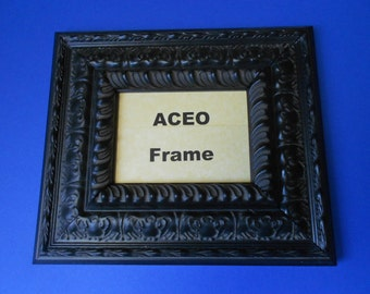 Black Cherry Ornate ACEO Picture Frame - Antique Ornate Wood Frame -  ACEO Photo Frame