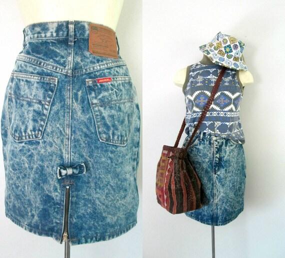 denim mini pencil skirt jordache acid wash zipper slit back
