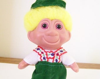 """Vintage 1991 German Troll Doll - Lederhosen  Outfit  - Gift for Him/Kids - 9"""" Collectible - Excellent Condition"""