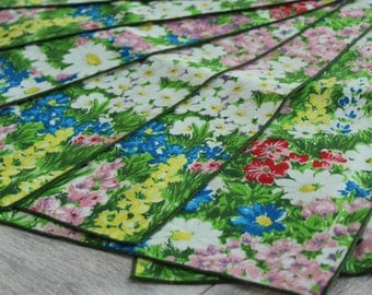 Floral Placemats, Vintage Placemats, Cloth Placemats, Set of 8, cottage decor, flower table setting, blue red pink flowers, colorful flowers