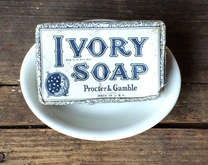 White Ironstone Soap Dish Vintage French Country Farmhouse