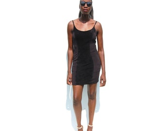 Black stretch bodycon minidress with suede panel 1990s 90s VINTAGE