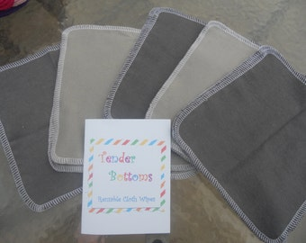"30 Ct 2 Ply Tender Bottoms Baby Wipes 8"" Square, Family Cloth, Napkins"