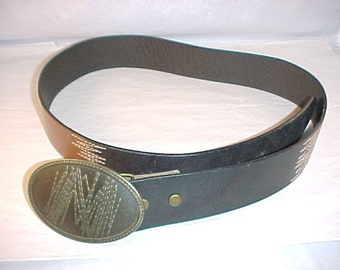 Black and Brown Leather Belt Oval Brass Buckle