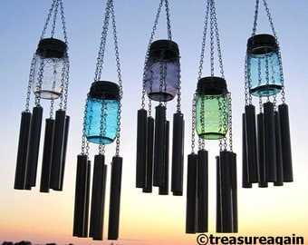 Ball Jar Wind Chime Upcycled Mason Jar Garden Decor, Lid and Color Choice